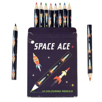 Colouring Pencils Set Of 10 - CHILDRENS Pencils - SPACE AGE Colouring PENCILS - Colouring PENCILS For KIDS - Colouring