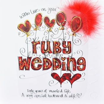 A Very Special Husband & Wife - Ruby Wedding Anniversary Cards - LUXURY Embellished Boxed ANNIVERSARY Card - 40th WEDDING Anniversary - SPECIAL Couple
