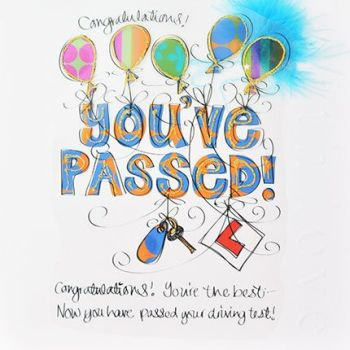 Congratulations You've Passed - PASSED DRIVING Test CARD - LUXURY Embellished Boxed CONGRATULATIONS Card - DRIVING Test CARD