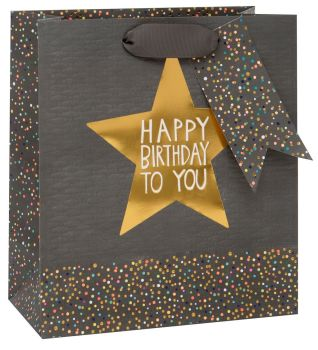 Gift Bags For Men - Medium CELEBRATORY Gift BAG - Birthday STAR Gold FOIL GIFT Bag - PREMIUM Gift BAGS - Men's BIRTHDAY GIFT BAGS