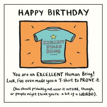 Excellent Human Being Birthday Card - FUNNY Birthday Cards FOR HIM - Birthday CARD For WEIRDO - Birthday CARD For BROTHER - Cousin - FRIEND