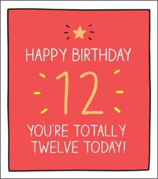 12th Birthday Card - YOU'RE Totally TWELVE TODAY - KIDS Birthday CARDS - 12th BIRTHDAY - Great BIRTHDAY Card FOR Son - NEPHEW - Grandson