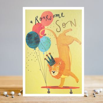A Roarsome Son Birthday Card - CHILDREN'S Birthday CARDS - Fun LION On SKATEBOARD Birthday CARD - Birthday CARDS For SON