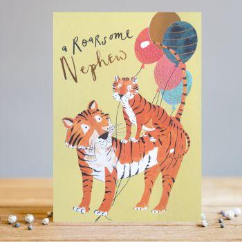 A Roarsome Nephew Birthday Card - CHILDREN'S Birthday CARDS - Cute TIGER With BALLOONS Birthday CARD - Birthday CARDS For NEPHEW