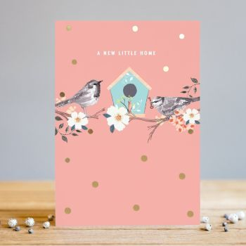 A New Little Home - NEW Home CARDS - Cute GARDEN Birds CARD - New HOME & New ADDRESS CARDS - Moving HOUSE Cards