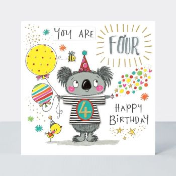 4th Birthday Cards - YOU Are FOUR HAPPY BIRTHDAY - KOALA & Balloons BIRTHDAY Card - 4th BIRTHDAY Card FOR Son - GRANDSON - Great GRANDSON - Nephew