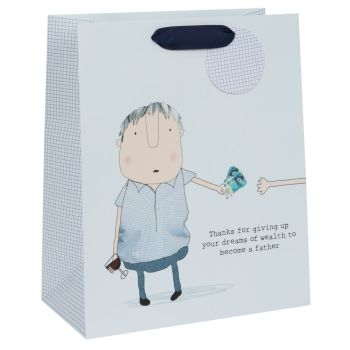 Gift Bags For Dad - DADS DREAMS OF WEALTH - Large CELEBRATORY Gift BAG - Funny GIFT Bag For DAD - Gift BAGS For FATHER