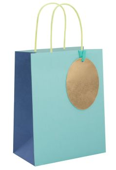 Blue Gift Bags - MEDIUM GIFT Bags - RECYCLABLE Gift BAG - Birthday GIFT Bags - BLUE Paper GIFT Bags - BABY Shower GIFT Bags