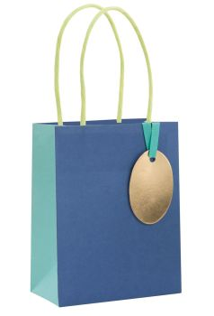 Blue Gift Bags - SMALL GIFT Bags - RECYCLABLE Gift BAG - Birthday GIFT Bags - BLUE Paper GIFT Bags - BABY Shower GIFT Bags