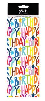 Happy Birthday Luxury Tissue Paper - Pack Of 4 LARGE Sheets - Luxury TISSUE Paper - GIFT Wrapping - Birthday STARS Tissue PAPER