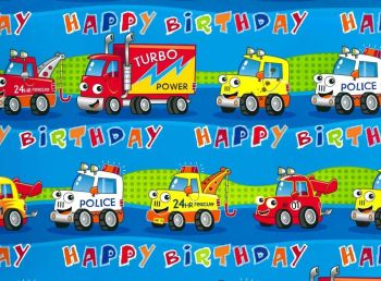 Children's Birthday Gift Wrap & Tag Pack - BOYS Wrapping PAPER - 2 SHEETS OF GIFT WRAP With 2 TAGS - CARS & TRUCKS Wrapping PAPER - Birthday GIFT Wrap