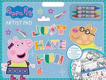 Children's A3 Artist Pad -  PEPPA Pig ARTIST Pad WITH CRAYONS & STICKERS - PEPPA Pig MERCHANDISE - Colouring & ACTIVITY Pads A3 - KIDS Colouring BOOKS