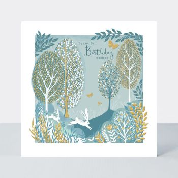 Beautiful Birthday Wishes - BIRTHDAY Cards FOR Her - RABBIT In The WOODS Birthday CARDS - GOLD Foil BIRTHDAY Card - Birthday CARD For MUM - Friend