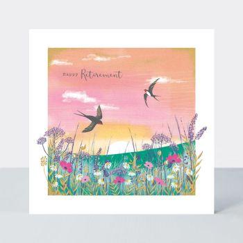 Happy Retirement - RETIREMENT SWALLOWS - RETIREMENT Greeting CARDS - Beautiful GOLD Foil RETIREMENT Card - Retirement CARDS