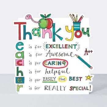 R Is For Really Special - Thank You Teacher Cards -  THANK You TEACHER - THANK YOU Card For A Caring TEACHER - Teacher CARDS - TEACHER Leaving CARDS
