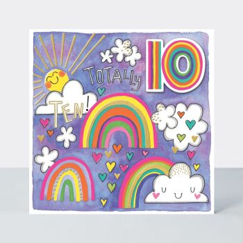 10th Birthday Card Girl - TOTALLY TEN - Pretty RAINBOW & Hearts BIRTHDAY Card - 10th BIRTHDAY - 10th BIRTHDAY Card FOR Daughter - NIECE - STEPDAUGHTER
