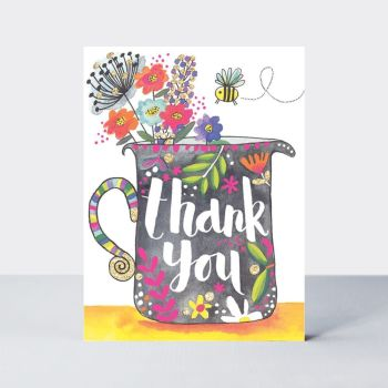 Pack Of Five Thank You Cards - FLORAL Thank YOU Note CARDS - Thank YOU Cards - MULTIPACK - BIRTHDAY Thank YOU CARDS - Sparkly THANK YOU Cards