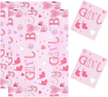 Baby Girl Pink Gift Wrap & Tag Pack - NEW BABY Wrapping PAPER - 2 SHEETS OF GIFT WRAP With 2 TAGS - SOCKS & HEART Wrapping PAPER - Baby GIRL GIFT Wrap