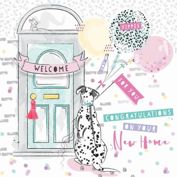 Congratulations On Your New Home - NEW Home GREETING Cards - GORGEOUS Dalmation & BALLOONS Card - NEW Home CONGRATULATIONS Card