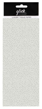 Grey & White Polka Dot Print Luxury Tissue Paper - Pack Of 4 LARGE Sheets - Luxury TISSUE Paper - GIFT Wrapping - GREY & WHITE Polka DOT TISSUE Paper