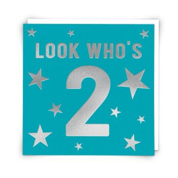 2nd Birthday Card Boy - LOOK WHO'S 2 - Vibrant BLUE & Silver BIRTHDAY Card - 2nd Birthday - 2nd BIRTHDAY Card For NEPHEW - Great GRANDSON - STEPSON