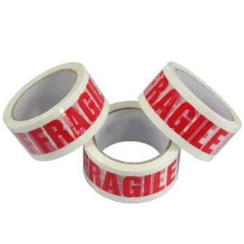 FRAGILE Low Noise Printed Packing Tape - PACK Of 3 - 48mm x 66m - PARCEL Packaging SUPPLIES - 'FRAGILE' Printed Tape - OFFICE Supplies - PACKING Tape
