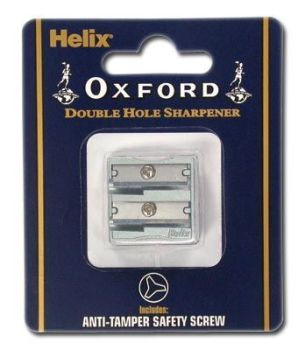 Pencil Sharpeners - HELIX Pencil SHARPENER - 2 HOLE Metal Sharpener - METAL Pencil SHARPENER - Office STATIONERY - Helix OXFORD 2 Hole METAL Sharpener