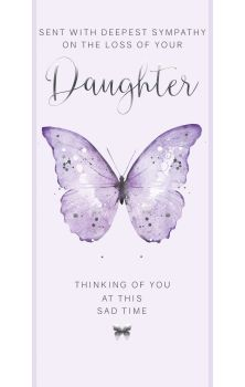Sent With Deepest Sympathy - LOSS Of DAUGHTER Card - PRETTY Lilac & SILVER Butterfly CARD - THINKING Of You CARDS - Daughter BEREAVEMENT Cards