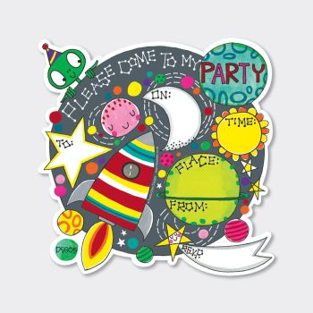 Outer Space Party Invitations – PARTY Invitations – PACK Of 8 PARTY Invitations - BOYS Birthday INVITATIONS - Kids PARTY Invitations - PARTY Supplies