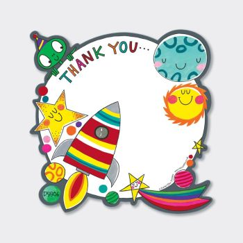 Set of 8 Outer Space Thank You Cards - COLOURFUL Space Rocket Thank YOU Cards - CHILDRENS Thank YOU Cards - PARTY Thank YOU Cards - PARTY Stationery