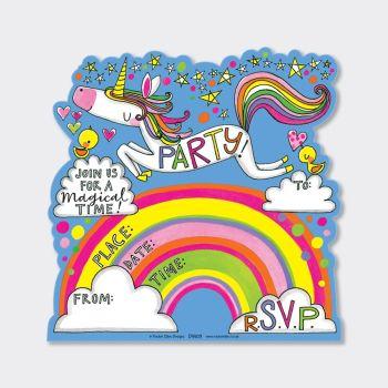 Fun Unicorn & Rainbow Party Invitations – PARTY Invitations – PACK Of 8 PARTY Invitations - GIRLS Birthday INVITATIONS - Kids PARTY Invitations