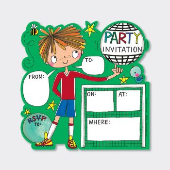 Fun Football Party Invitations – PARTY Invitations – PACK Of 8 PARTY Invitations - BOYS Birthday INVITATIONS - Kids PARTY Invitations