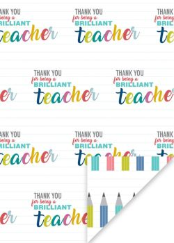 Thank You Teacher Wrapping Paper - 2 SHEETS Of LUXURY Gift WRAP - RECYCLABLE Wrapping Paper - Flat WRAP - WRAPPING Paper SHEETS - THANK YOU - Teacher