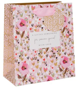 For Someone Special - MEDIUM GIFT Bag - PINK FLORAL Gift BAG For FEMALE - LUXURY GIFT Bags - Birthday GIFT Bags - GIFT Bags