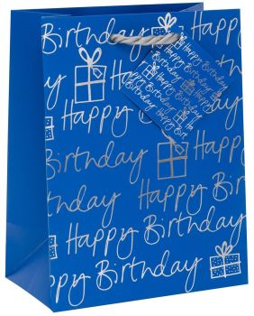 Happy Birthday Gift Bag - MEDIUM GIFT Bag - BLUE & SILVER Foil Gift BAG - LUXURY GIFT Bags - Birthday GIFT Bags - GIFT Bags FOR HIM