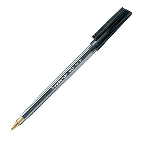 Black Biro Pens - PACK Of 5 - Staedtler STICK PEN - Black BALLPOINT Pens -