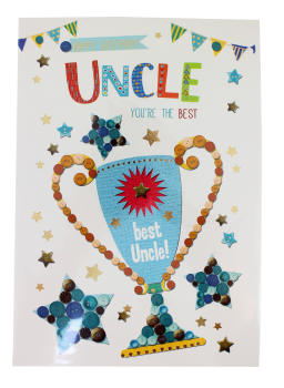 Best Uncle Birthday Cards - Uncle BIRTHDAY Card TROPHY Design - HAPPY Birthday UNCLE YOU'RE The BEST - Uncle BIRTHDAY Cards - BEST Uncle CARDS