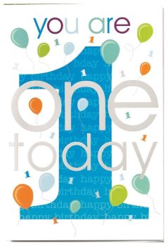 1st Birthday Card For Boy - YOU Are ONE Today - BALLOON CARD For 1 YEAR OLD - Blue With SILVER Foil Card - 1st BIRTHDAY Card For Grandson - NEPHEW