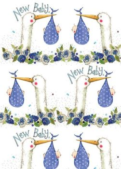 New Baby Boy Wrapping Paper - 2 SHEETS Of LUXURY Gift WRAP - RECYCLABLE Wrapping Paper - Flat WRAP - WRAPPING Paper SHEETS - Cute STORK & BABY Boy