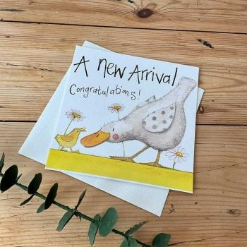 A New Arrival New Baby Card - NEW Baby CONGRATULATIONS Cards - SPARKLY Baby DUCKLING Card - NEW Baby CARD - CONGRATULATIONS Baby Cards