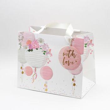 Wedding Gift Bags - WITH LOVE - Medium LANDSCAPE  - BEAUTIFUL Wedding LANTERNS Gift BAG - Pink & White TOTE Gift BAG