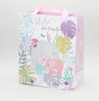Large Baby Girl Gift Bags - HELLO New BABY Girl - Pretty Baby GIRL GIFT Bags - LARGE PORTRAIT GIFT Bags - Recyclable GIFT Bags - BABY SHOWER Gift BAGS