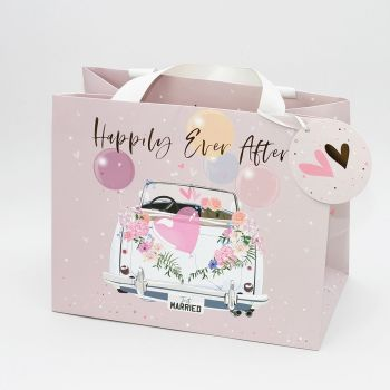 Wedding Gift Bags - HAPPILY Ever AFTER - Medium LANDSCAPE - BEAUTIFUL Wedding CAR Gift BAG - Pink & White TOTE Gift BAG