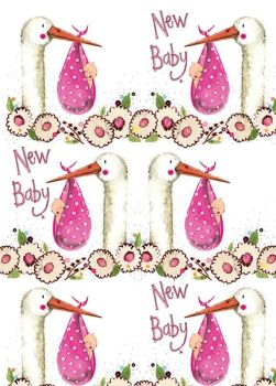 New Baby Girl Wrapping Paper - 2 SHEETS Of LUXURY Gift WRAP - RECYCLABLE Wrapping Paper - Flat WRAP - WRAPPING Paper SHEETS - Cute STORK & BABY Girl