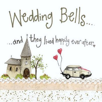And They Lived Happily Ever After - WEDDING Cards - WEDDING Day CARDS - Quirky WEDDING Day CARD - Pretty WONKY Church & WEDDING Car GREETING Card