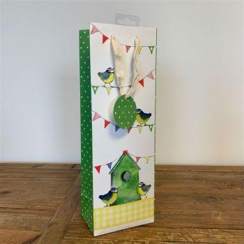 New Home Bottle Bag - WINE & Bottle GIFT Bags - CUTE Garden BIRDS & Bunting BOTTLE BAG - BIRD Watcher - TWITCHER Birthday GIFT Bag - Wine GIFT Bags