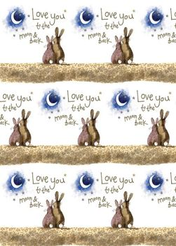 Love You To The Moon & Back Wrapping Paper - 2 SHEETS Of LUXURY Gift WRAP - RECYCLABLE Wrapping Paper - CUTE BUNNY Gift WRAP - Romantic Wrapping PAPER