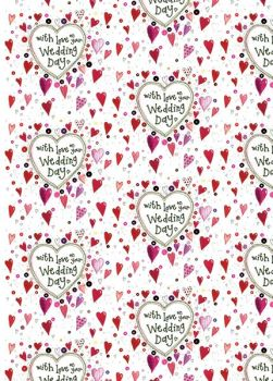 With Love On Your Wedding Day Wrapping Paper - 2 SHEETS Of LUXURY Gift WRAP - RECYCLABLE Wrapping Paper - CUTE Red HEARTS Gift WRAP - Wedding GIFTWRAP