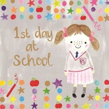 1st Day At School Cards Girl - PRETTY FIRST DAY At INFANT School CARDS - NEW School CARDS - 1st DAY At School CARDS For DAUGHTER - Granddaughter