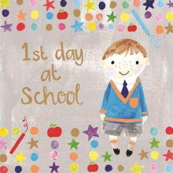 1st Day At School Cards Boy - FUN FIRST DAY At INFANT School CARDS - NEW School CARDS - 1st DAY At School CARDS For SON - Grandson - NEPHEW